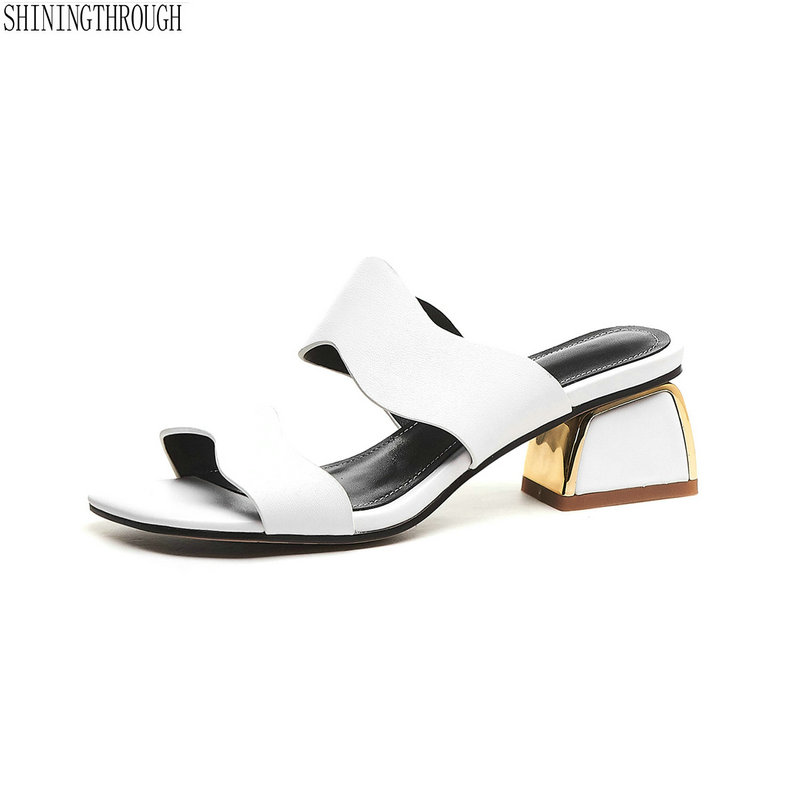 Brand 2019 Fashion Women Genuine Leather Sloppers White Silver Summer Shoes Woman Comfort Casual Ladies Shoes