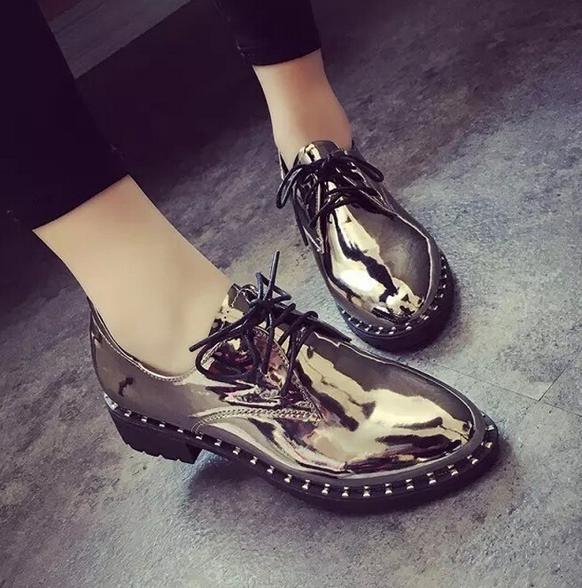 Free shipping 2016 new Patent Leather Oxford Shoes font b Woman b font Lace Up Platform