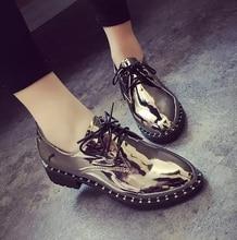 จัดส่งฟรี2016หนังสิทธิบัตรใหม่ฟอร์ดผู้หญิงรองเท้าแพลตฟอร์มลูกไม้ขึ้นแฟลตO Xfordsนิ้วเท้าชี้Femininoผู้หญิงแฟลต รองเท้า