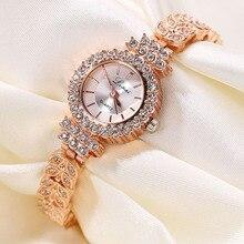 Brand Luxury Women Bracelet Watches Ladies Quartz Watch Female Clock Dress Gold Rhinestone Wristwatches