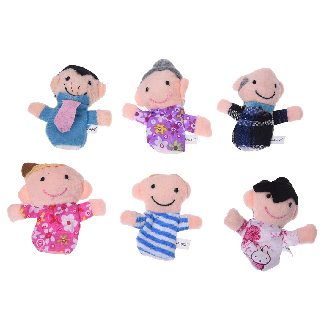 6Pcs Family Finger Puppet Cloth Baby Childs Kid Play Learn Story Helper Toy Doll