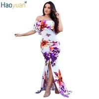 HAOYUAN Sexy Elegant Mermaid Party Dresses Robe Off Shoulder Backless Bodycon Maxi Dress 2017 Summer Women