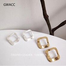 GWACC Fashion Creative Design Stud Earrings For Women Girls INS Korean Geometric Square Hollow Gold Sliver Colors Metal