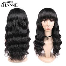 Human Hair Loose Deep Wave Wigs with Bangs Brazilian Human Hair Wigs Remy Wig for Women Natural Black HANNE Hair недорого