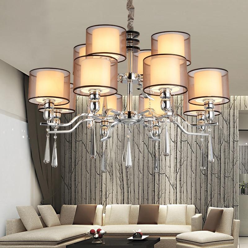Kronleuchter Moderne Beleuchtung Stoff Lampenschirm Esszimmer Moderne  Kristall Kronleuchter Licht Hohe Qualität Metall Farbe Lampe In