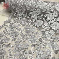 Heavyweight Floral Embroidery Mesh Lace Fabric For Dress Grey Black Red Pink Floral Lace Tissu Tecidos