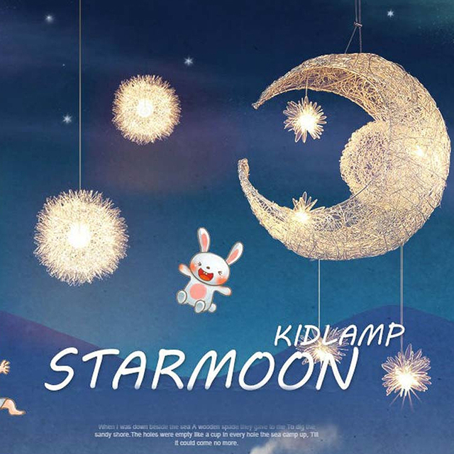 ASCELINA Moon&Star Pendant Lights Kid's Room Lighting Modern Child Bedroom Lamps Aluminum for Living Room Home Decoration