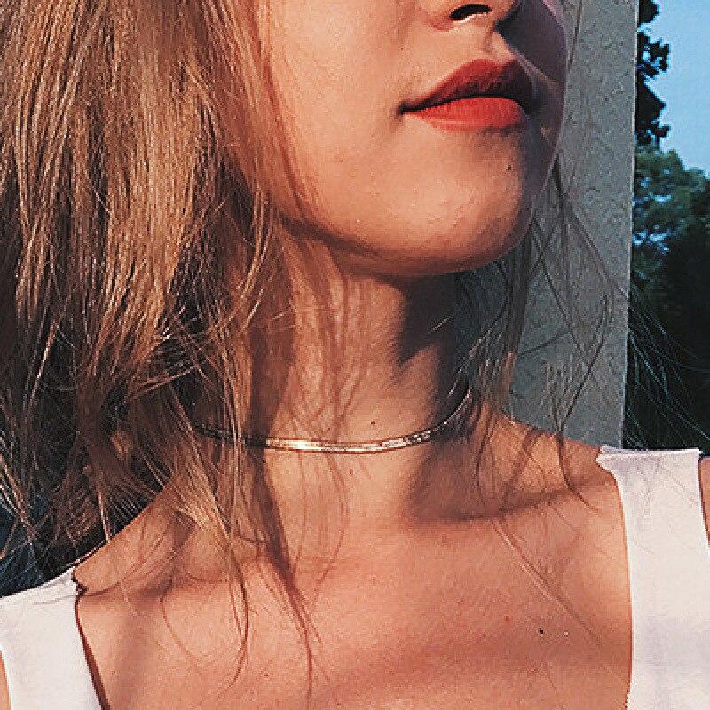 Bijoux Collier Femme New Rose Gold Silver Golden Color Snake Chain Choker Necklace Women 2018 Boho Kolye Chocker Collare Collana