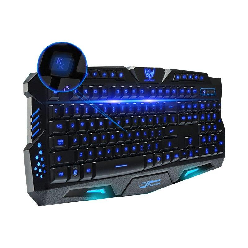 Sentido mecánico Teclado retroiluminado Tricolor luminiscente teclado M200 café Internet teclado para juegos de ordenador