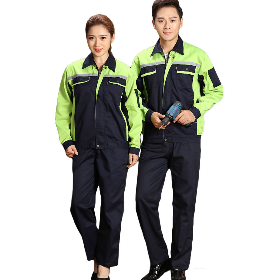 Men Women Work Clothing Jacket and Pants Workwear Sets Reflective strip Long Sleeve Workers Labor Uniforms