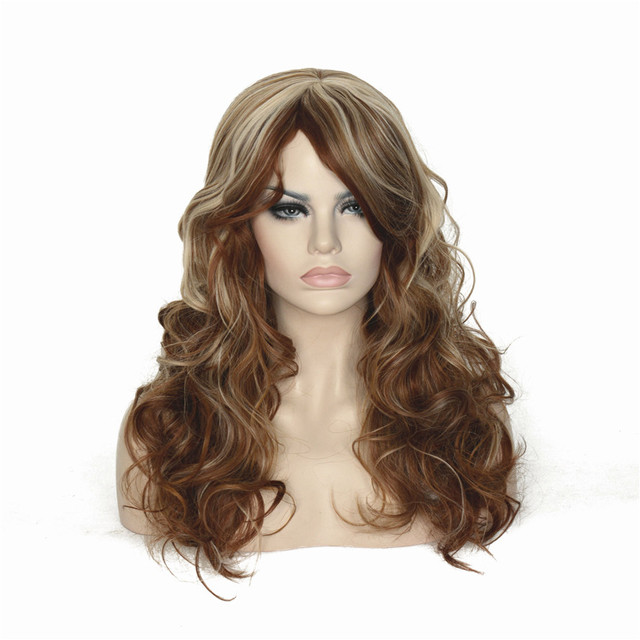 Strongbeauty Womens Wig Blonde Highlights Long Curly Natural Hair