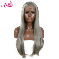 Aurica grey long natural straight synthetic lace front wigs soft half hand tied heat resistant fiber hair free parting for woman