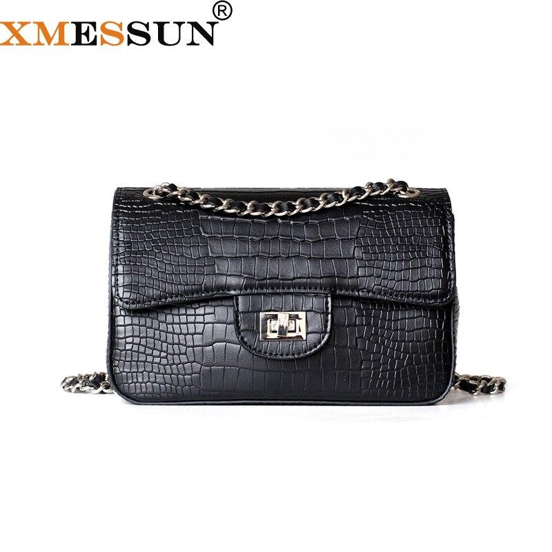 Luxury Brand Chains Flap Bag Women 100 Genuine Cow Leather Alligator Classic Shoulder Bag Handbag Black