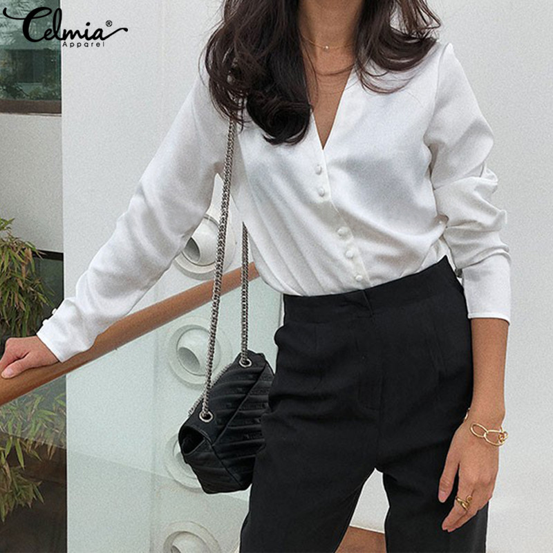 2019 Autumn Celmia Women Sexy V Neck Blouse Shirts Casual Long Sleeve Buttons Elegant OL Work Tunic Tops Plus Size Blusas Female in Blouses amp Shirts from Women 39 s Clothing