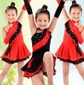 Дети Латинский Танец Платье с Блестками Кистями Платье Девушки Латинской Танцы Девушки Этап Танцевальная Одежда Танго Платья Бальные Костюмы