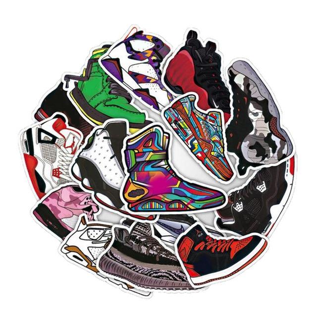 100pcs Basketball Sneakers Sticker Waterproof Stickers For  Wall Fridge Travel Suitcase Bike Sliding Plate Car Styling Sticker