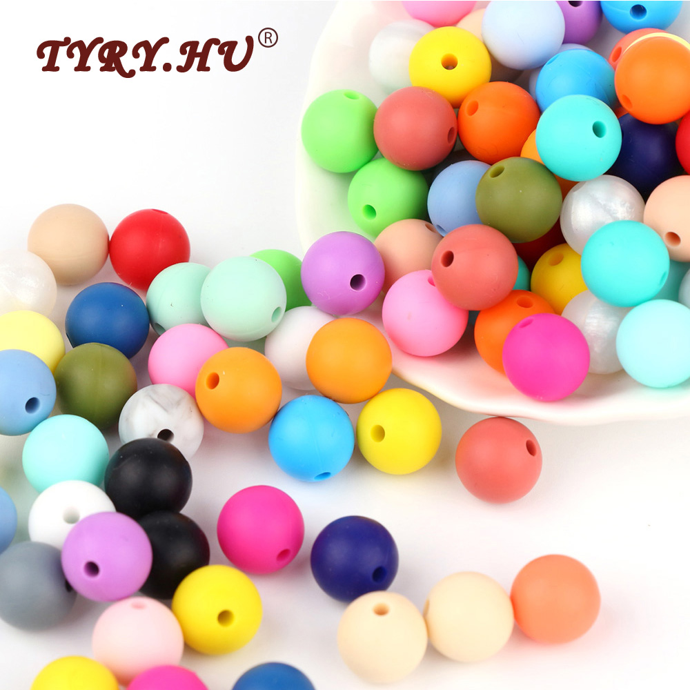 TYRY.HU 500Pcs 12mm Silicone Round Beads Chewable Baby Teething Beads BPA Free Baby Teether Pendant DIY Nursing Necklace Charms