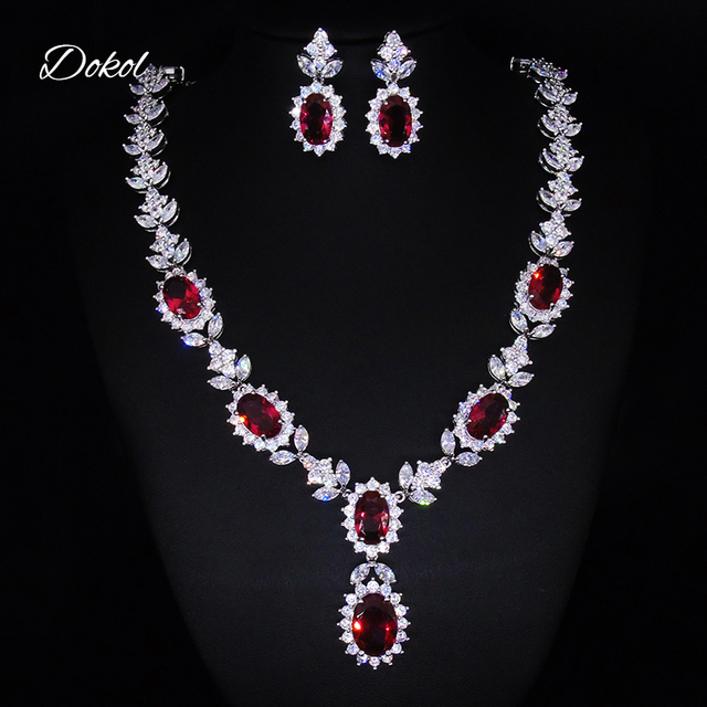 Dokol Trendy Red Cubic Zirconia Necklace Earrings Sets For Wedding Sparkling Crystal Jewelry Set Bridesmaids Gift