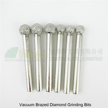 цена на 6pcs #9/10 Vacuum brazed diamond Grinding bits Engraving carving tool Ball type mounted points