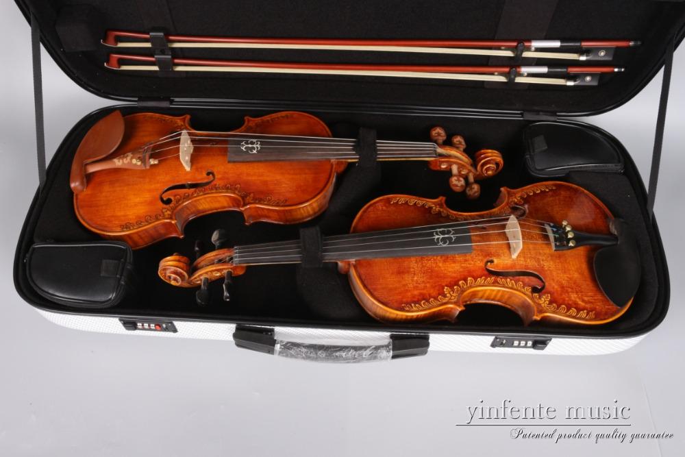 new double violin case 4/4 high strength carbon fiber violin case WHITE handmade new solid maple wood brown acoustic violin violino 4 4 electric violin case bow included
