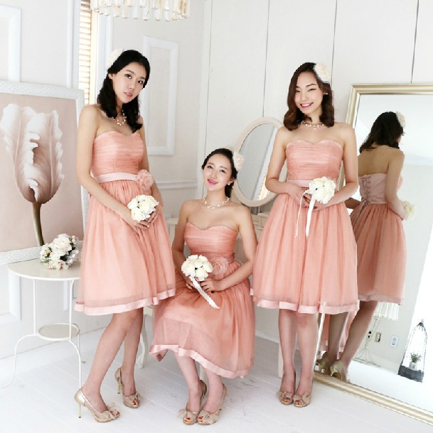 Pastel Orange Pink Bridesmaid Dresses Light Blue Chiffon Short Design Y Elegant Juniors Dress