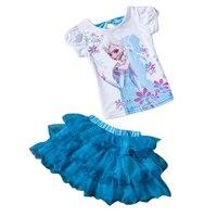 Retail 2016 New Summer Kids Girls Clothing Set Elsa T Shirt Dress Cotton Baby Girls Suits
