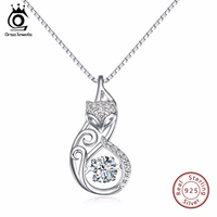 ORSA JEWELS Cute 925 Silver Fox Pedant Necklaces Insert 1ct Movable Charm CZ Diamond Rhodium Plated