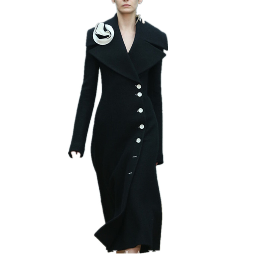 Plus Taille Down Slim De Turn Mode Poitrine 2xl Unique Femmes Laine Long Épais Collar Cachemire Black Manteau D'hiver 1BZwqq6