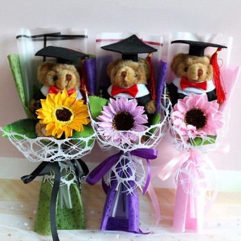 Hot Anime Teddy Bear Plush Doll Toys With Doctorial Hats Cartoon Flower Bouquet Stuffed Animal Dolls Toy For Kid Graduation Gift