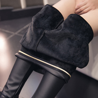 BONJEAN Winter Warm Fat MM Plus Size 3XL Women Plus Velvet Imitation Leather Leggings Black High