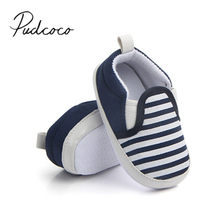 2017 Brand New Pram Newborn Toddler Baby Girls Boys Kids Infant First Walkers Striped Classic Shoes Loafers Casual Soft Shoes(China)