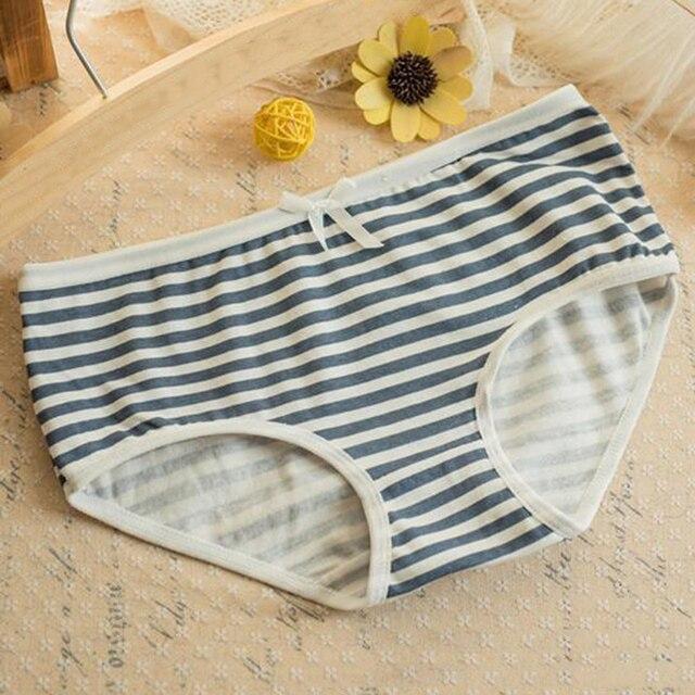 661fbc71e458 Fashion Soft Cotton Stripes Panties Bowknot Cute Underwear Women Panties Briefs  Good Quality Soft Comfy Underwear Candy Color