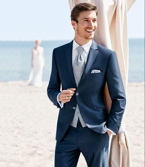 2017 Latest Coat Pant Designs Navy Blue Formal Men Suit Slim Fit Simple Wedding Blazer Style