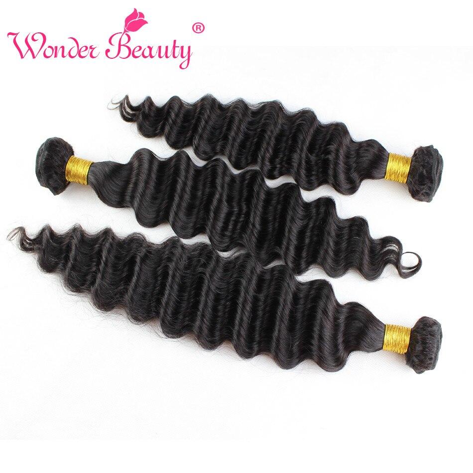 Wonder Beauty Hair Extension Brazilian Deep Wave 3 bundles deal 100% Human Hair Weaving non remy Customized 8-30 Inches pieces