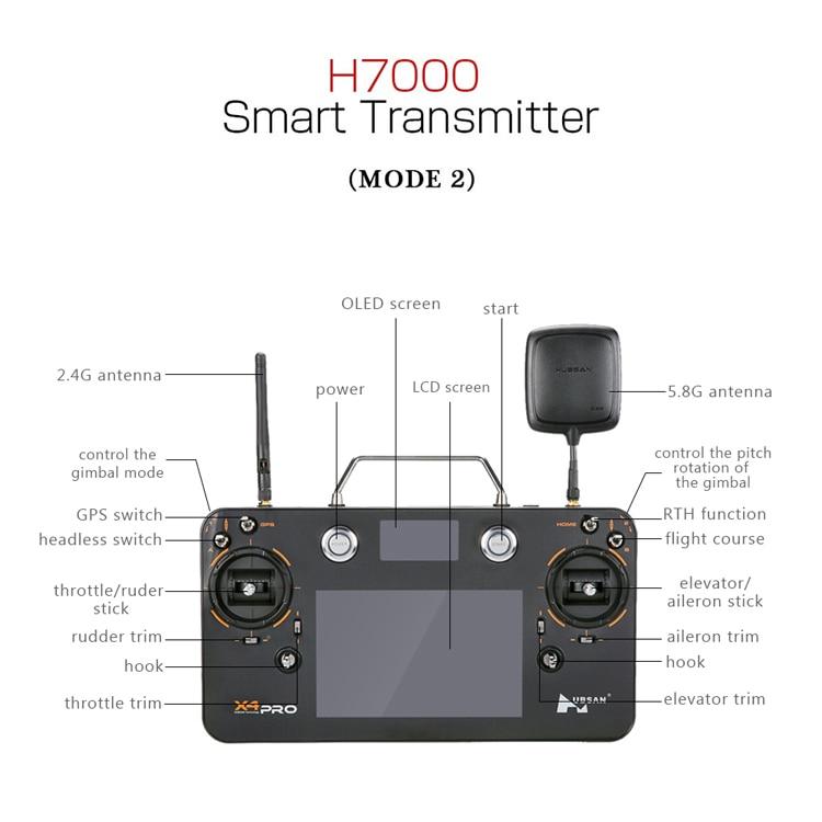 1 PC Hubsan FPV RC transmetteur H109S-38 H7000 télécommande avec antenne pour Hubsan H109S X4 PRO quadrirotor Drone Acc