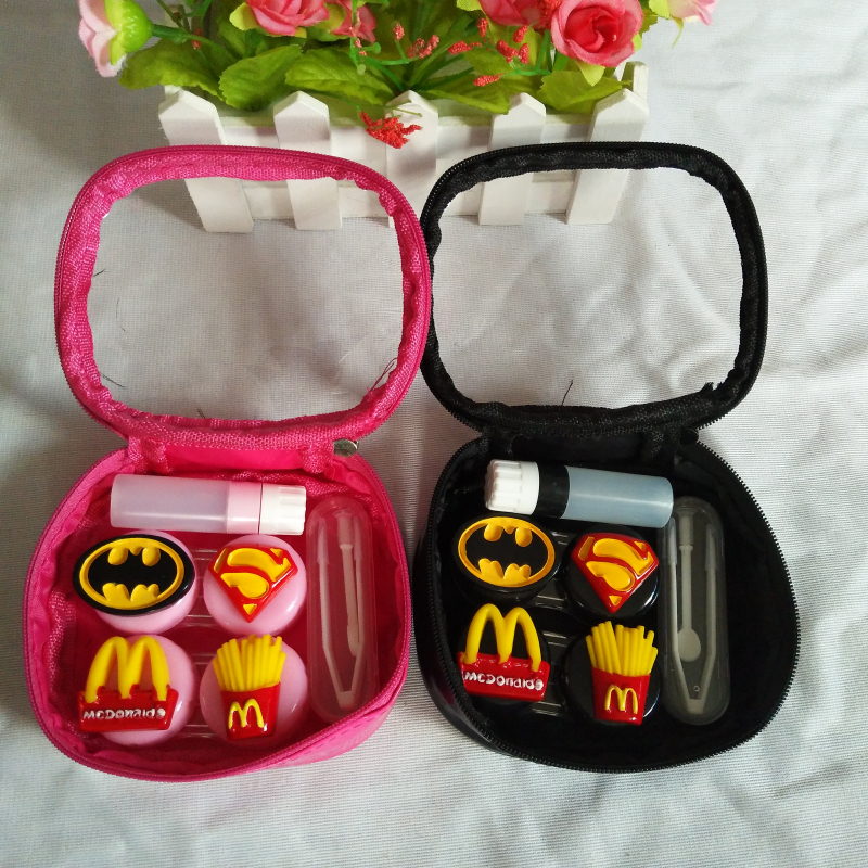 Apparel Accessories United Liusventina 2018 New Diy Resin Cute Batman Superman Combo Contact Lens Case Bag Container For Color Lenses Gift For Boy And Girl Eyewear Accessories