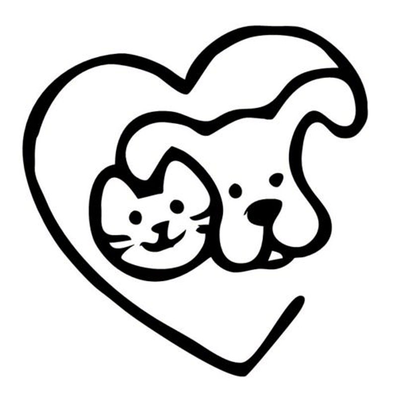 14.9*15.2CM Love Pets Cat & Dog Heart Creative Cartoon Car ...