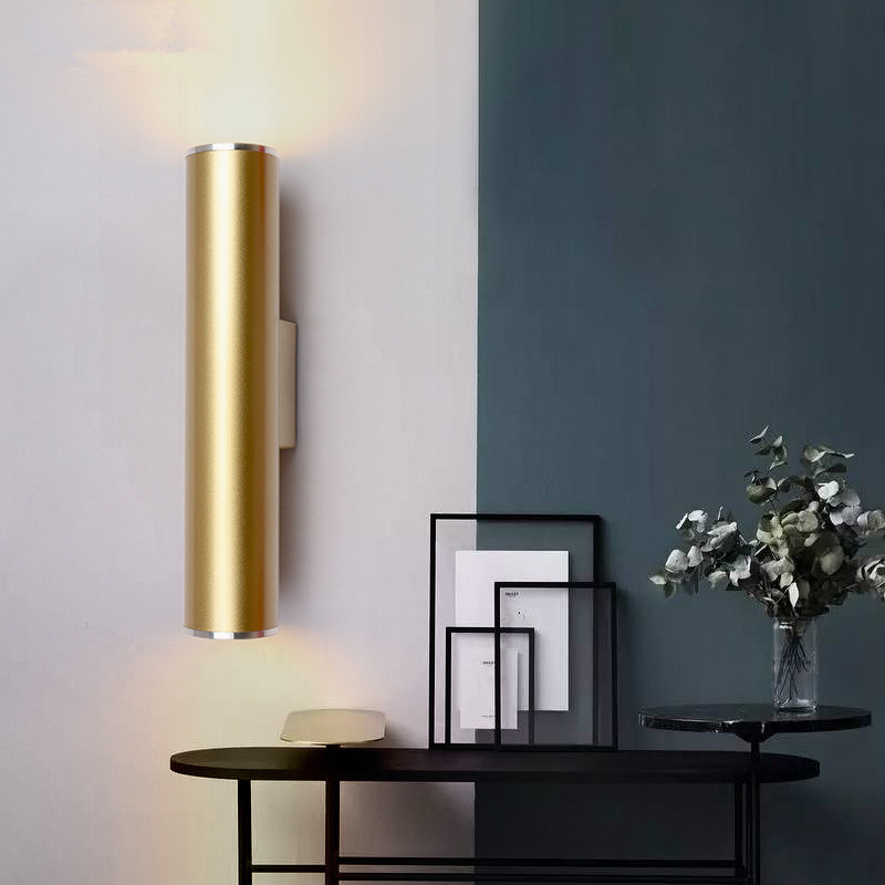Wall Light Gold Tube Design lights Plating Aluminium Cover LED Sconce Light Hallway Coffee Shop Indoor Up and Down LightWall Light Gold Tube Design lights Plating Aluminium Cover LED Sconce Light Hallway Coffee Shop Indoor Up and Down Light
