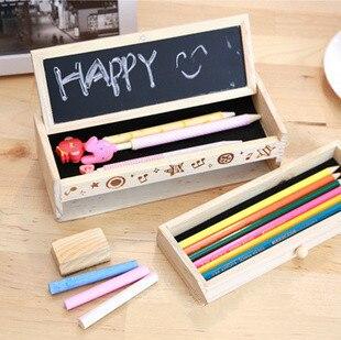 Korea stationery multifunctional wooden stationery box diy small blackboard drawer pencil box storage box