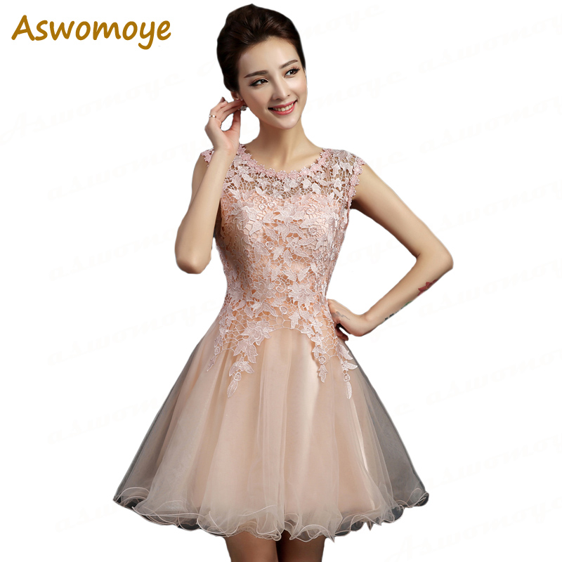 Aswomoye Elegant Short Evening Dress 2018 New Illusion O-Neck Special Occasion Dresses Prom Party Dress O-Neck Robe De Soiree