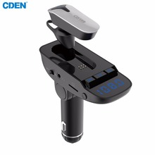 Wireless Bluetooth Headset FM Transmitter MP3 Radio Adapter Car Kit Supports TF/SD Card and USB Car Charger for All Smartphones