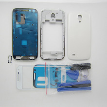 White Full Housing Cover + i9192 Middle frame + battery door case For Samsung Galaxy S4 SIV Mini replacement & Outer front Glass