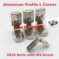 50pcs 2020 Serie Aluminum Profile T Slot 6mm L Angle Shape Type Interior Corner Connectors Joint Brackets with M4 Screws