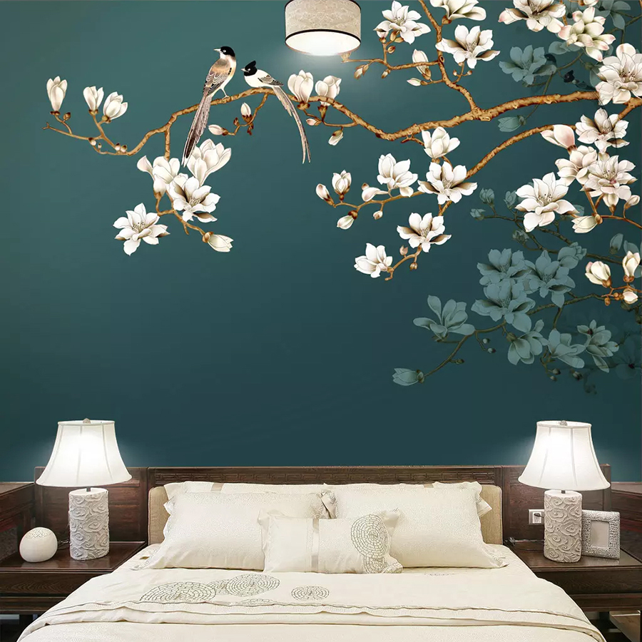 Custom Wall Paper Mural Hand Painted Chinese Style Flowers Birds Living Room Bedroom Interior Decoration Wall Painting Wallpaper