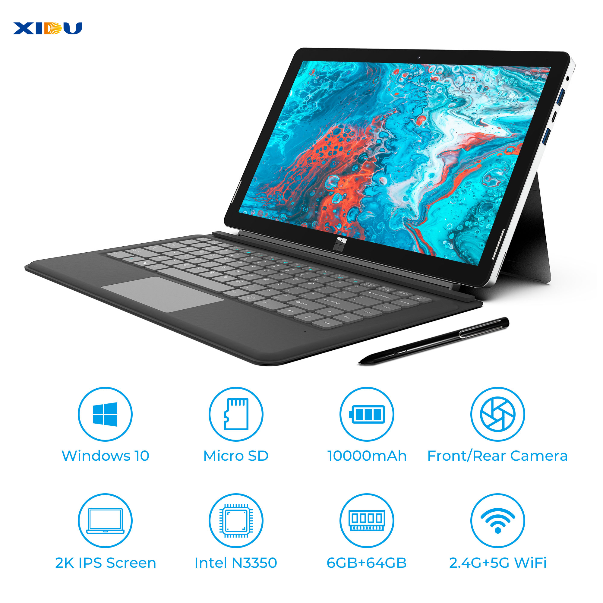 XIDU PhilPad Dual Core Windows 10 Tablets 6GB RAM 64GB ROM 13.3 N3350 Laptop 2560x1440 Display Dual WIFI with Tablet PenXIDU PhilPad Dual Core Windows 10 Tablets 6GB RAM 64GB ROM 13.3 N3350 Laptop 2560x1440 Display Dual WIFI with Tablet Pen