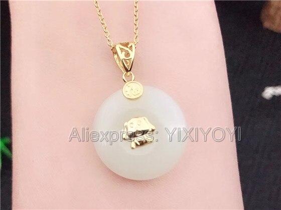 Красивые стерлингового серебра 925 Белый Хотан нефрита круглой пряжкой Дизайн Lucky кулон + цепь Цепочки и ожерелья Fine Jewelry Шарм подарок