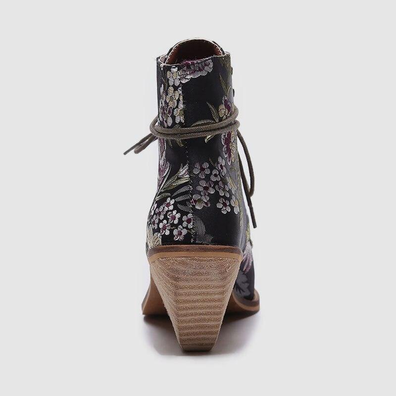 Karinluna 2019 De Las Mujer Marca Nueva 43 Bordar marrón Negro Alta Zapatos Flores Pista Diseño Amplia 35 Seda Tacones Mujeres Zapatillas ttdqr