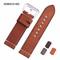 Handmade New watch band Genuine Leather Wristband Straps Silver Brushed  Buckle or Plating black buckle  Bracelets 24mm