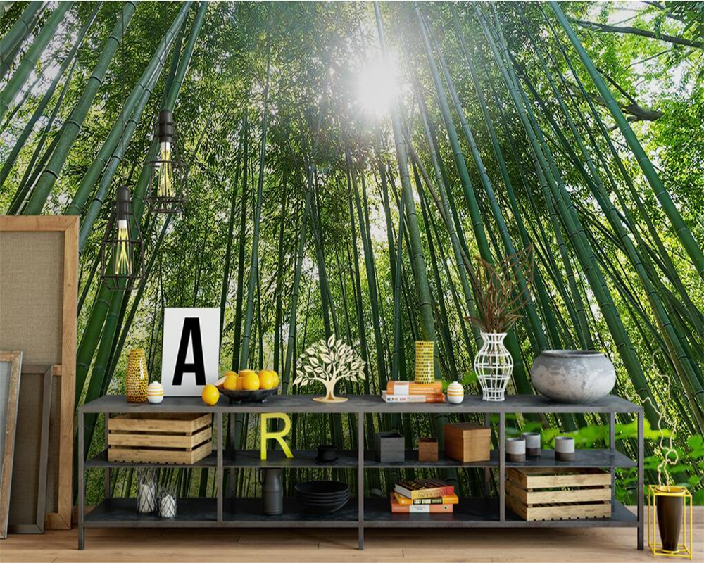 Beibehang The mural the wall green bamboo wallpaper photo mural wallpaper 3  d sitting room bedroom family decorates wallpaper