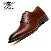 2019 Italian Style Luxury Men Shoes Genuine Leather Pointed Toe Dress Business DESAI Brand Oxfords 38-47 EU Big Size